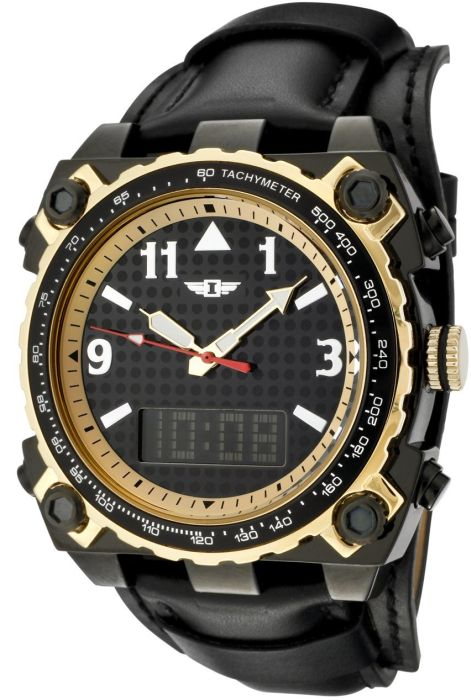 Invicta Men's Black Dial Black Leather Analog Digital Watch