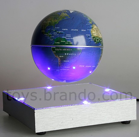 Floating Globe with Mirror Plate and Blue 4-LED