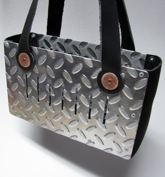 Industrial Chic Leather and Diamond Plate Handbag