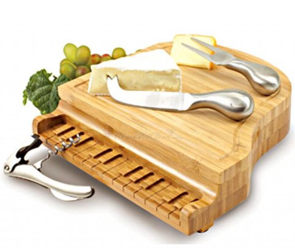 Grand Piano Bamboo Cheese Board And Cheese Knife Set