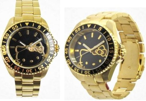 Hello Kitty Gold Sports Bezel Wristwatch
