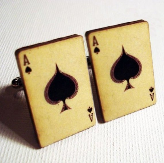 Playing card silver cufflinks