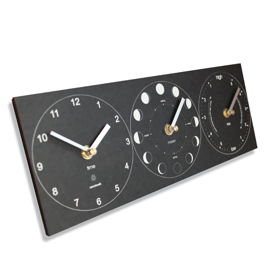 Recycled moon/tide/time clock