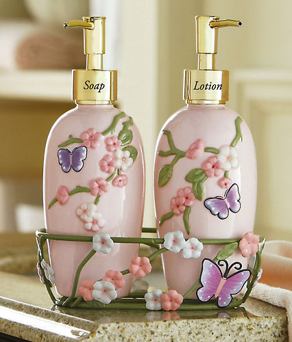 Cherry Blossom & Butterflies Dispensers w/ Caddy