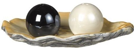 Black & White Pearl Salt and Pepper Shaker Set