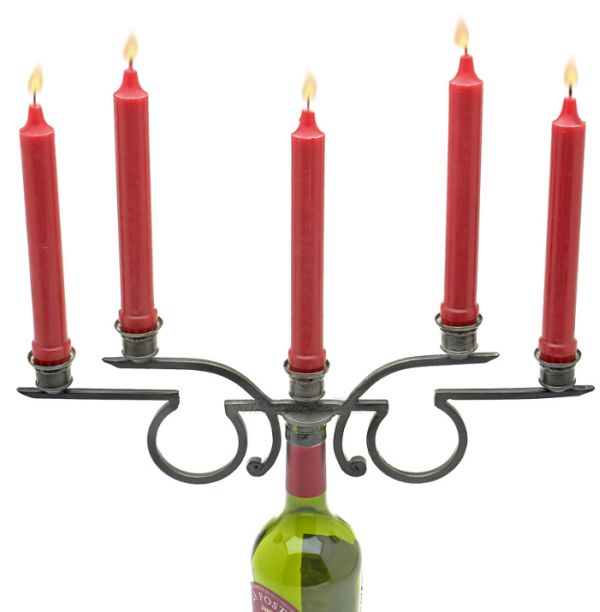 Rosetta Five-Candle Wine Bottle Candelabra