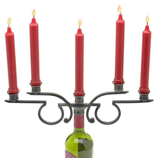 Rosetta Five-Candle Wine Bottle Candelabra