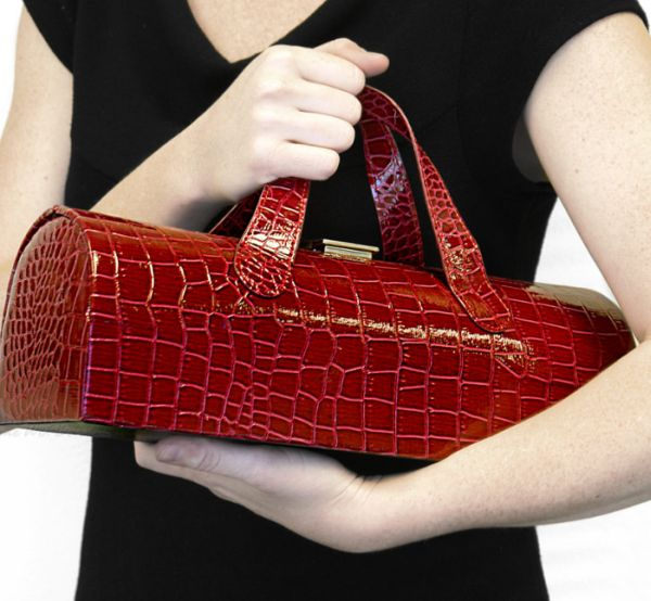 Red Crocodile Wine Tote