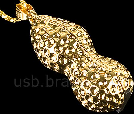 USB Gold Peanut Necklace Flash Drive