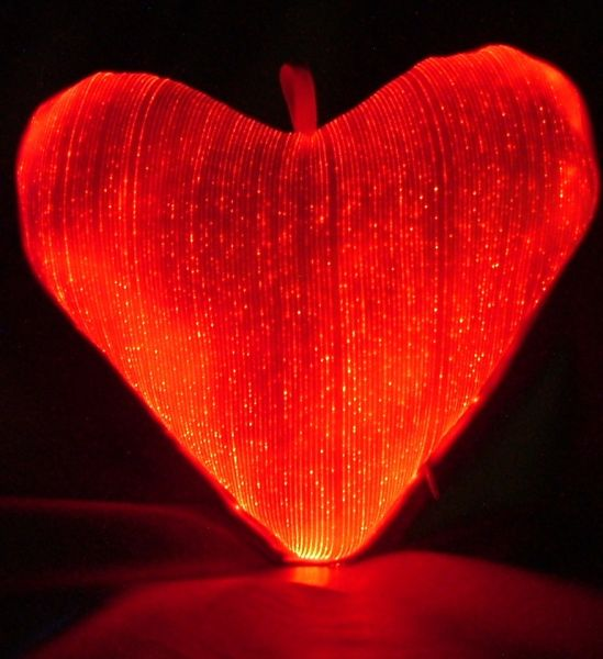Luminous Fiber Optic Heart Pillow