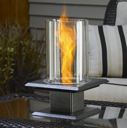 Allure Gel Fueled Table Top Fire Pit in Silver Vein