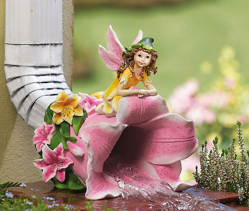 Fairy On Lilly Outdoor Downspout