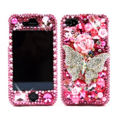 3D Swarovski Pink Butterfly Crystal Bling Case Cover for iphone 4