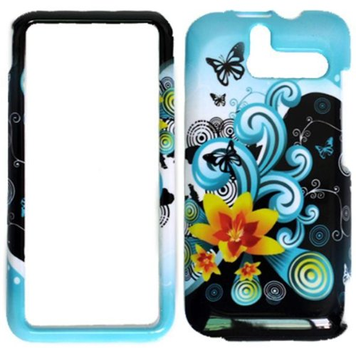 Blue Flower Hard Protective Cover Case for HTC