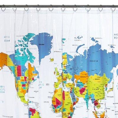 World Map Vinyl Shower Curtain