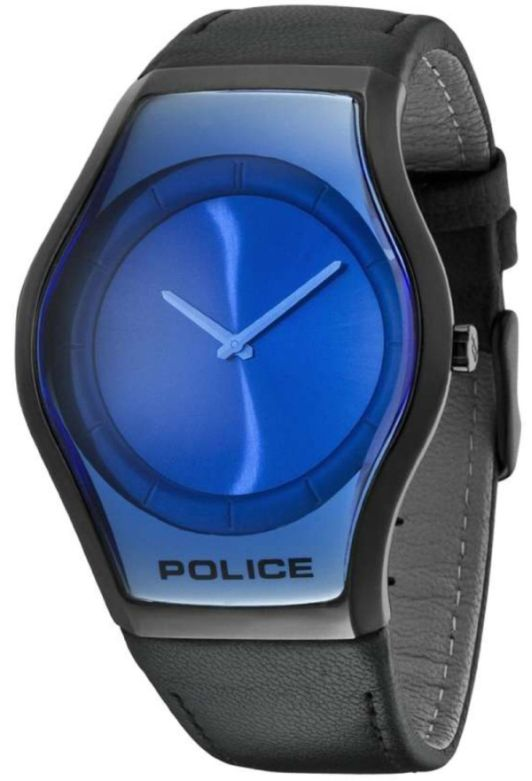 Police Men's Sphere Blue Dial Black Leather Watch