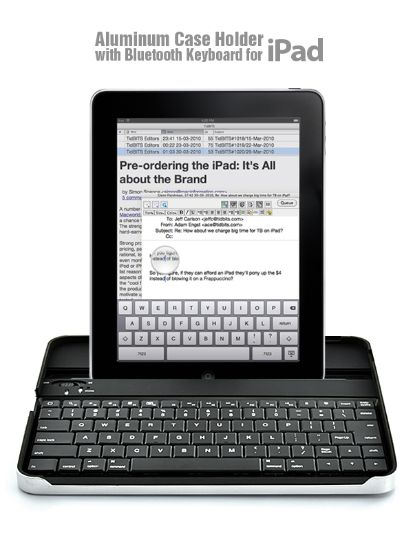 Aluminum Case Holder with Bluetooth Keyboard for iPad