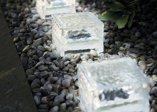 Solar Glass Ice Cube Brick Path