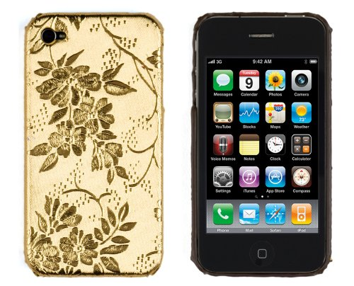 Embossed Flowers Hard Case for Apple iPhone 4