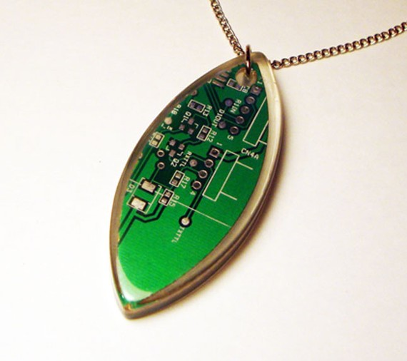 Green computer circuit board necklace