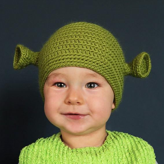 Baby shrek beanie