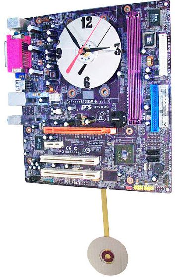 Purple Motherboard Pendulum Clock
