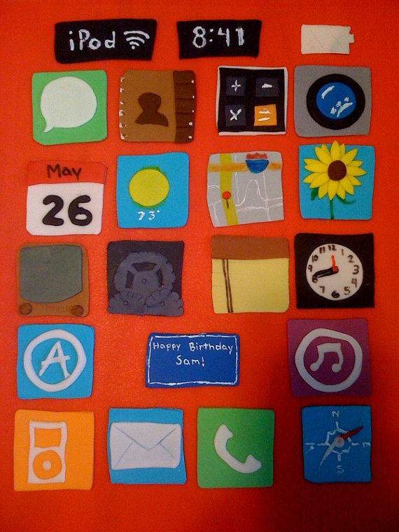 iPod Touch/ iPhone Apps Cupcake Toppers