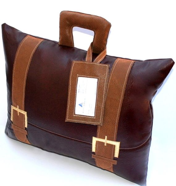 Briefcase Pillow with Business Card Tag