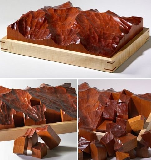 Hand Carved Mahogany Topographic Puzzle