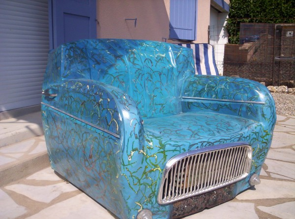 Retro Armchair Made from a Recycled 1968 4L Renault