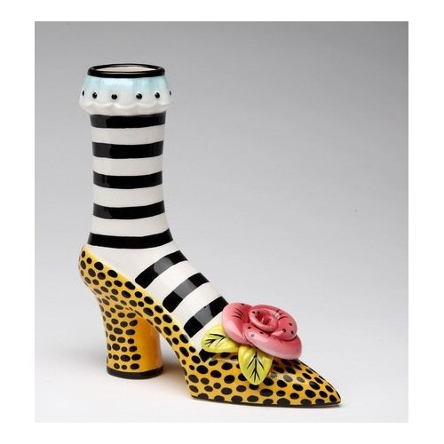 Ladies Leopard Skin Print High Heel Shoe Flower Vase