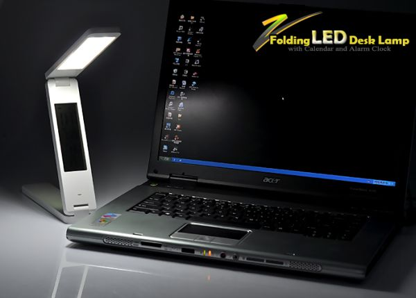 Folding LED Desk Lamp with Calendar and Alarm Clock