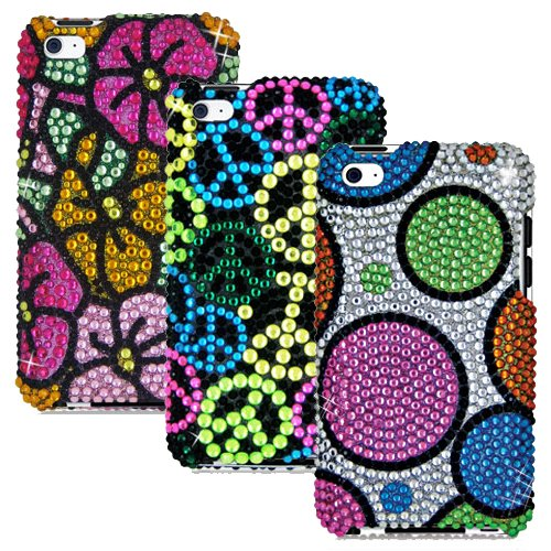 iPOD TOUCH 4 / 4G / 4TH THREE RHINESTONE CASE