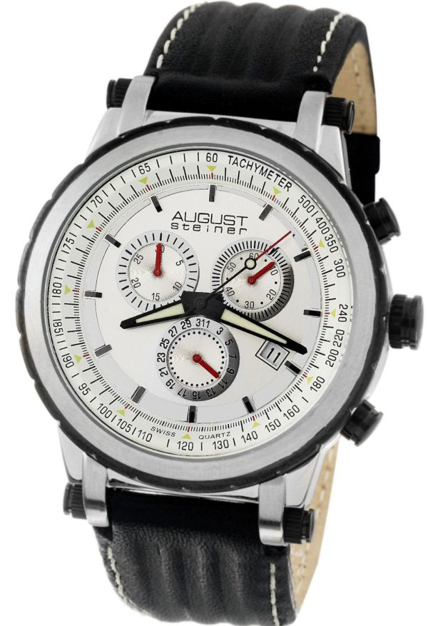 August Steiner Men's Swiss Quartz Sport Chronograph Date Watch