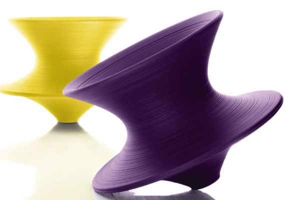 Purple Spun Rotating Low Chair