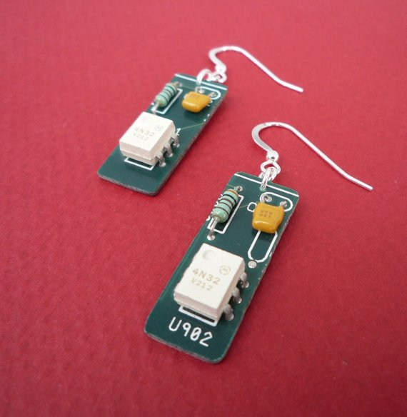 vintage white circuit earrings