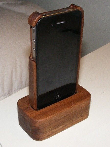 Black Walnut Case AND Dock Stand for iPhone 4
