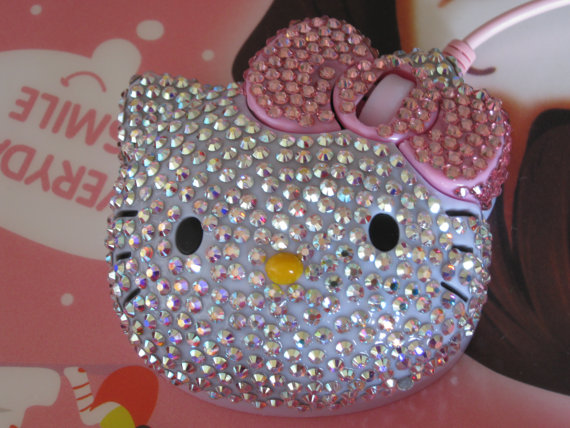 Hello Kitty Optical Mouse completed in Swarovski Crystals