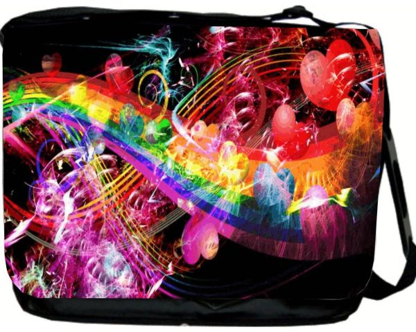 Love and Hearts Rainbow Design Messenger Bag