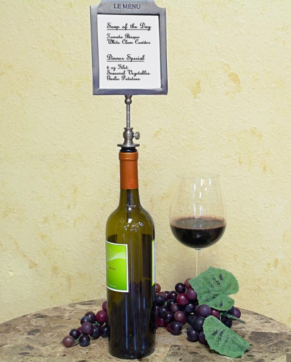 Liste de Vins Bottle Stopper Wine Menu