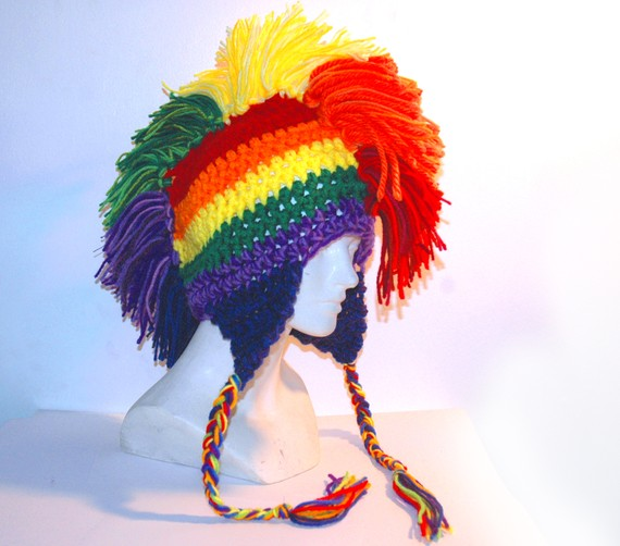 Rainbow Mohawk Ear Flap Hat