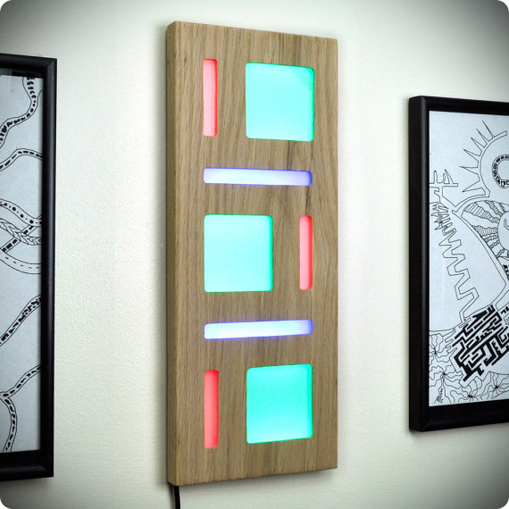 Lighted Geometric Wall Art of Wood, Light, and Shape
