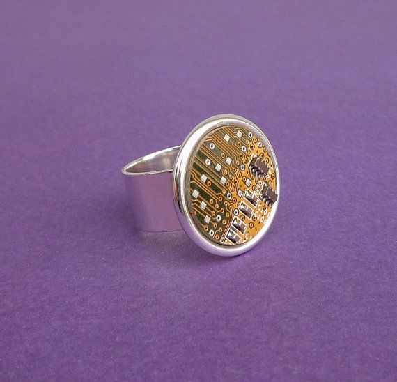 circuit board ring in yellow