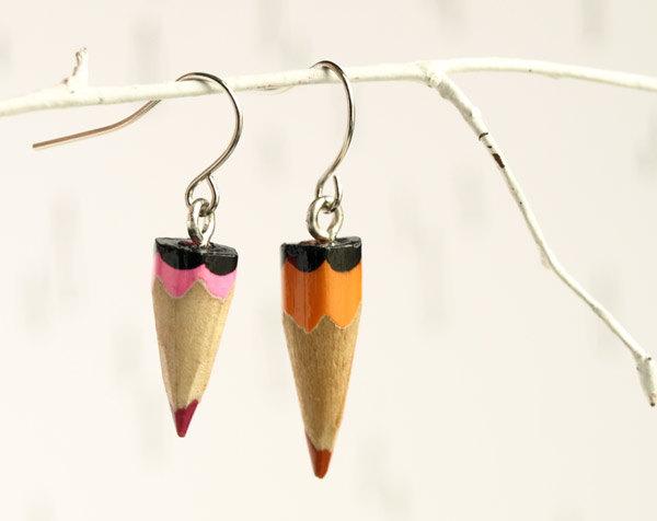 geek earrings pink orange pencil
