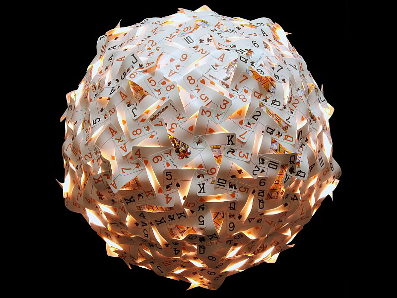 Pendant Lamp Made From 270 Playing Cards