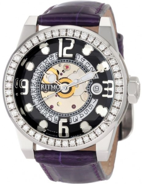 Ritmo Mundo Women's D251/1 Black Diamond Pantheon Exhibition Case Automatic Watch