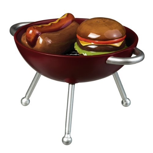 Road Backyard BBQ Hamburger and Hot Dog on the Grill Salt and Pepper Shaker Set