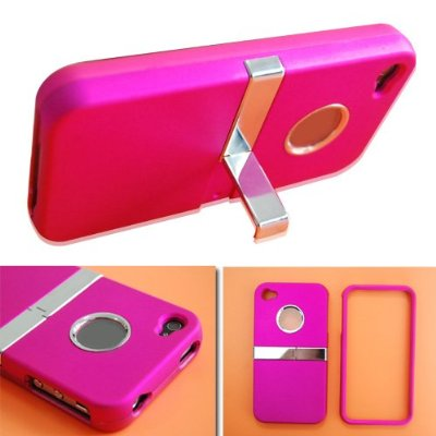 Stand Stander Chrome Hard Case Cover For Apple iPhone 4 4G Peach