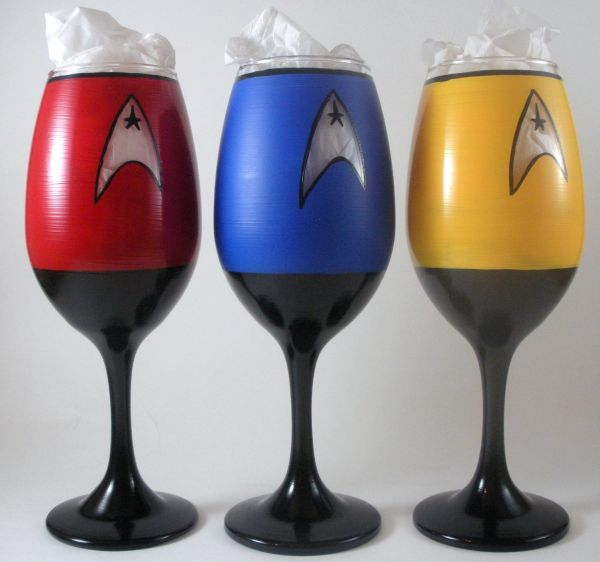 Star Trek inspired, hand painted wine glasses