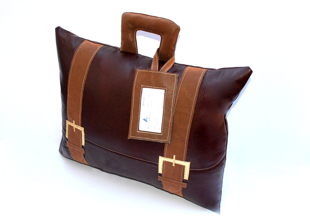 Faux Leather Briefcase Pillow